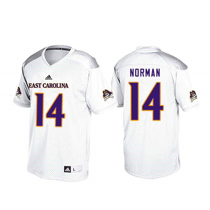 Men #14 Caiden Norman ECU Pirates College Football Jerseys Sale-White
