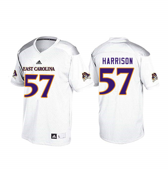 Men #57 Damani Harrison ECU Pirates College Football Jerseys Sale-White