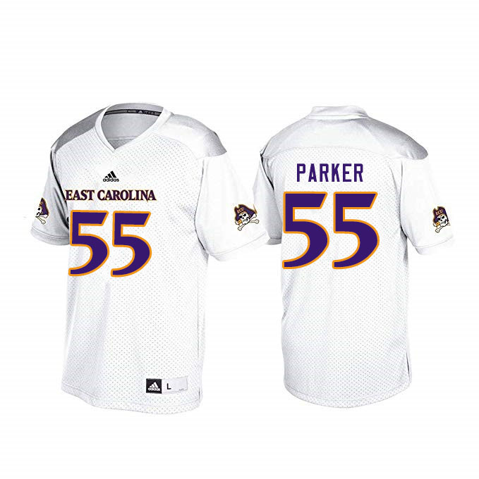 Men #55 Heath Parker ECU Pirates College Football Jerseys Sale-White