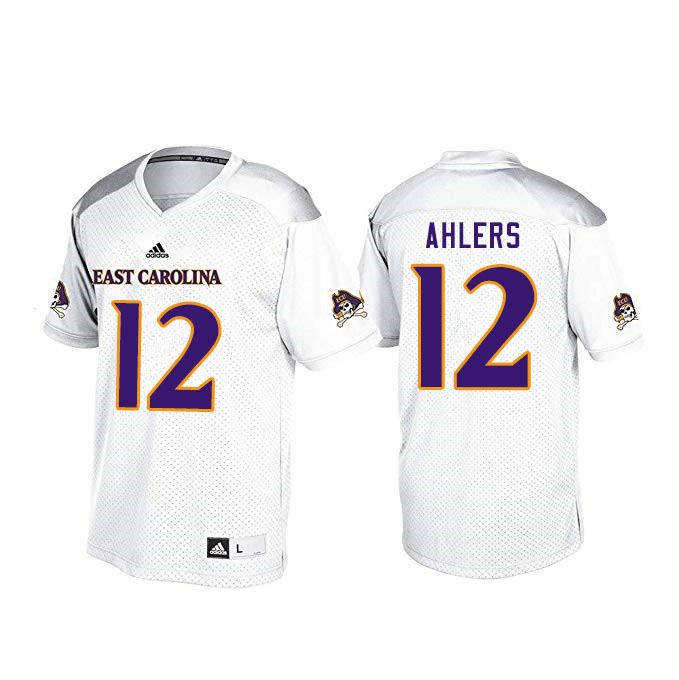 Men #12 Holton Ahlers ECU Pirates College Football Jerseys Sale-White