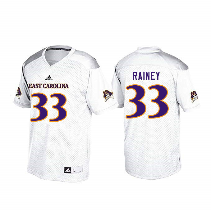 Men #33 Jaren Rainey ECU Pirates College Football Jerseys Sale-White