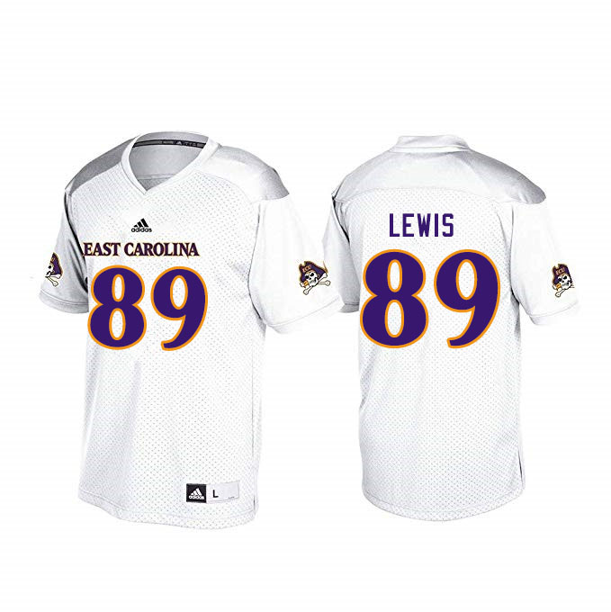 Men #89 Jeremy Lewis ECU Pirates College Football Jerseys Sale-White