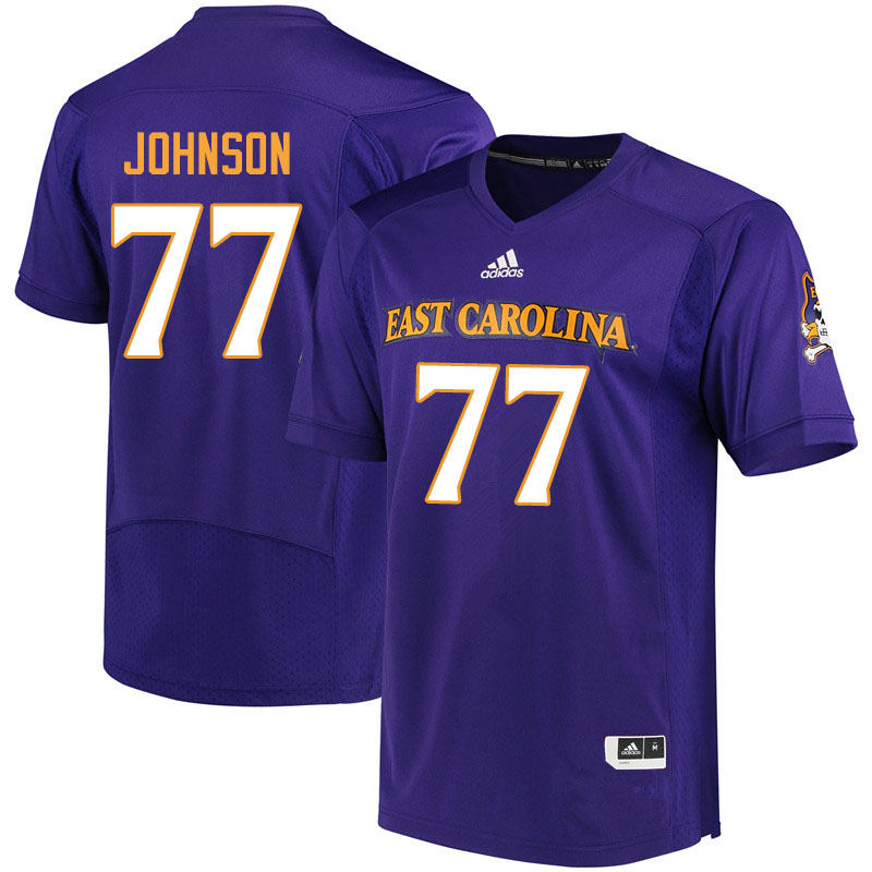 Men #77 Jordan Johnson ECU Pirates College Football Jerseys Sale-Purple