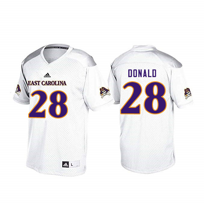 Men #28 Maceo Donald ECU Pirates College Football Jerseys Sale-White