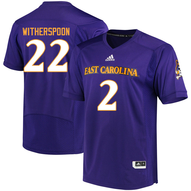 Men #2 Michael Witherspoon ECU Pirates College Football Jerseys Sale-Purple