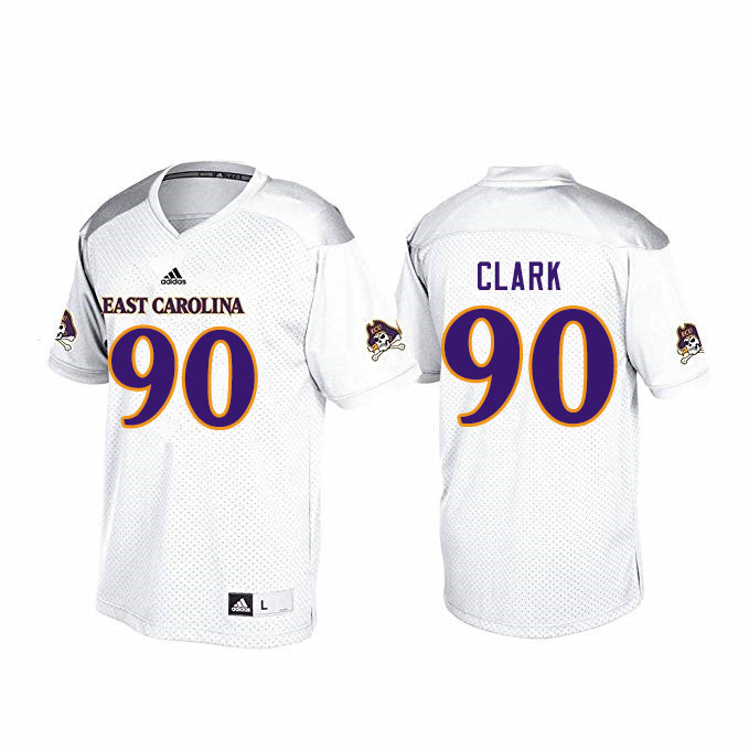 Men #90 Nate Clark ECU Pirates College Football Jerseys Sale-White