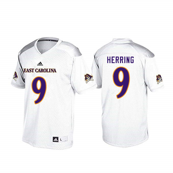 Men #9 Reid Herring ECU Pirates College Football Jerseys Sale-White