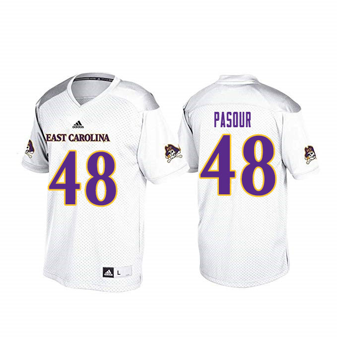 Men #48 Aaron Pasour ECU Pirates College Football Jerseys Sale-White