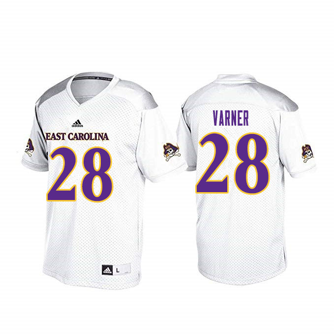 Men #28 Ahonore Varner ECU Pirates College Football Jerseys Sale-White