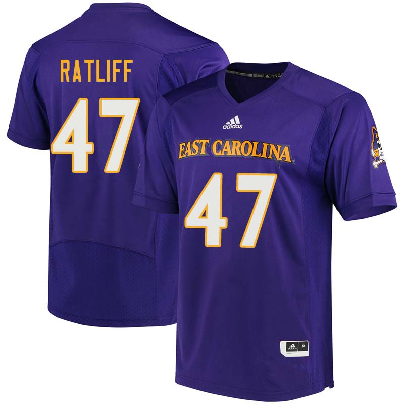 Men #47 Anthony Ratliff East Carolina Pirates College Football Jerseys Sale-Purple
