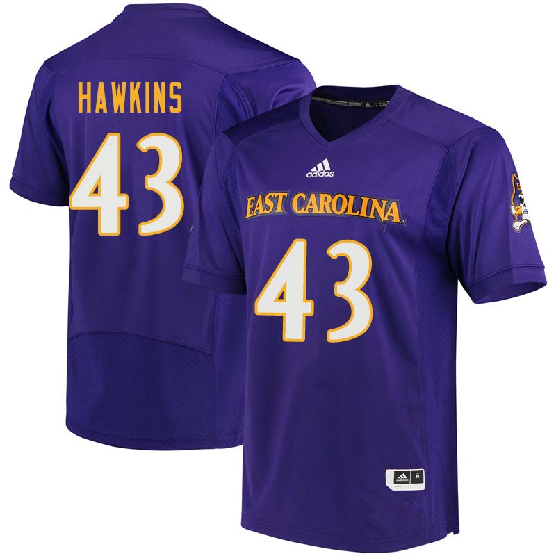 Men #43 Dedrick Hawkins East Carolina Pirates College Football Jerseys Sale-Purple