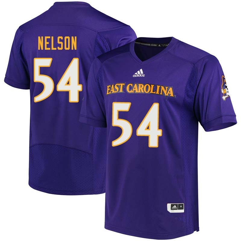 Men #54 Ja-Quane Nelson East Carolina Pirates College Football Jerseys Sale-Purple
