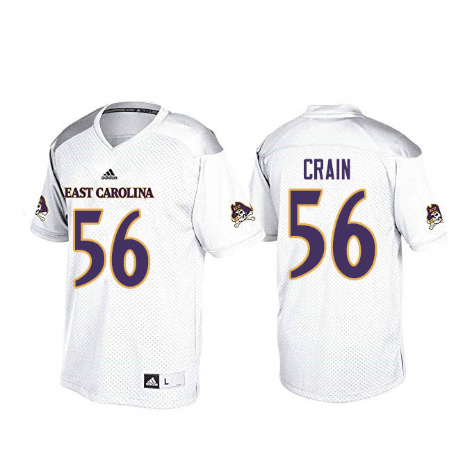 Men #56 John Crain ECU Pirates College Football Jerseys Sale-White