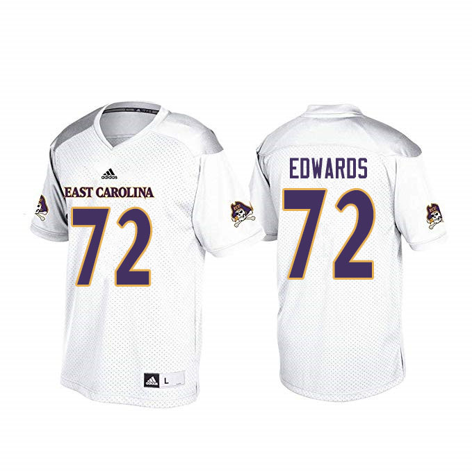 Men #72 John Ross Edwards ECU Pirates College Football Jerseys Sale-White