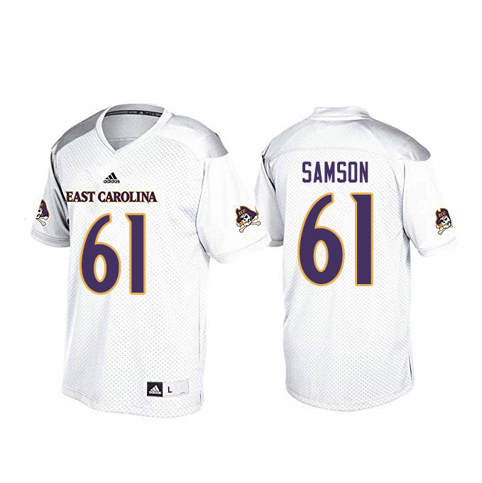 Men #61 Joseph Samson ECU Pirates College Football Jerseys Sale-White