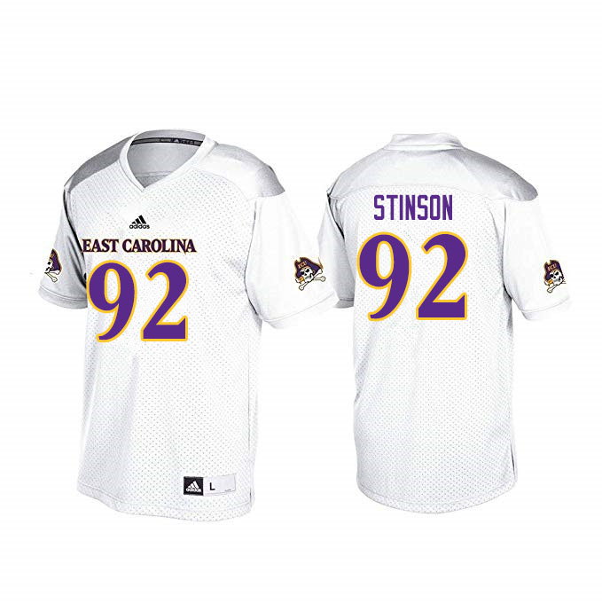 Men #92 Kareem Stinson ECU Pirates College Football Jerseys Sale-White