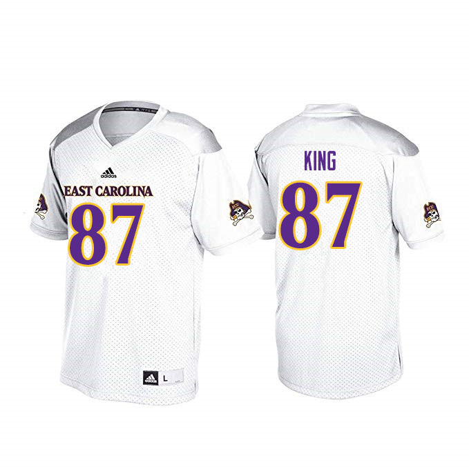 Men #87 Kerry King ECU Pirates College Football Jerseys Sale-White