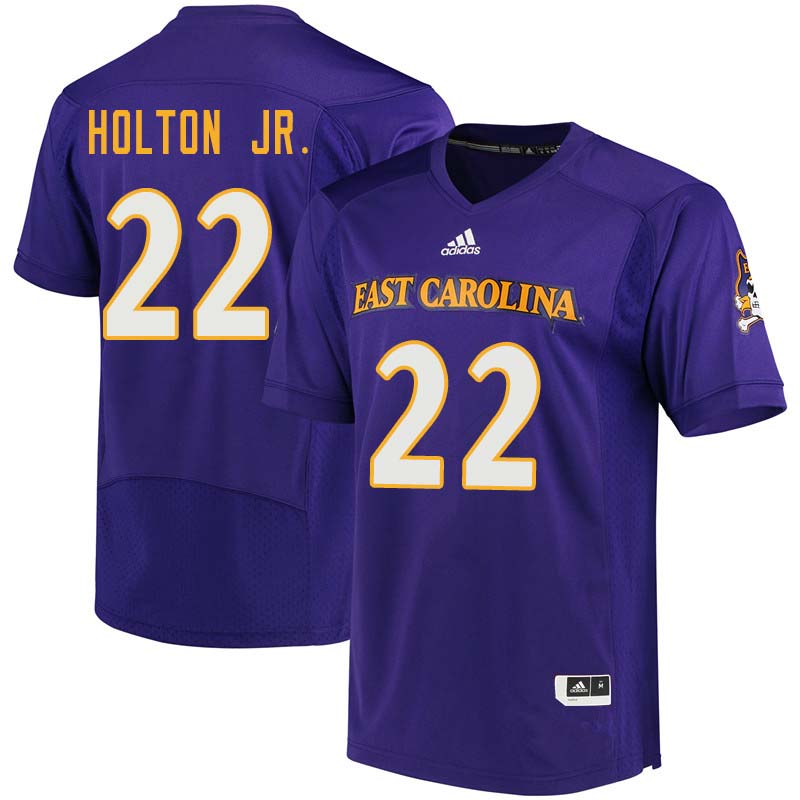 Men #22 Marcus Holton Jr. East Carolina Pirates College Football Jerseys Sale-Purple