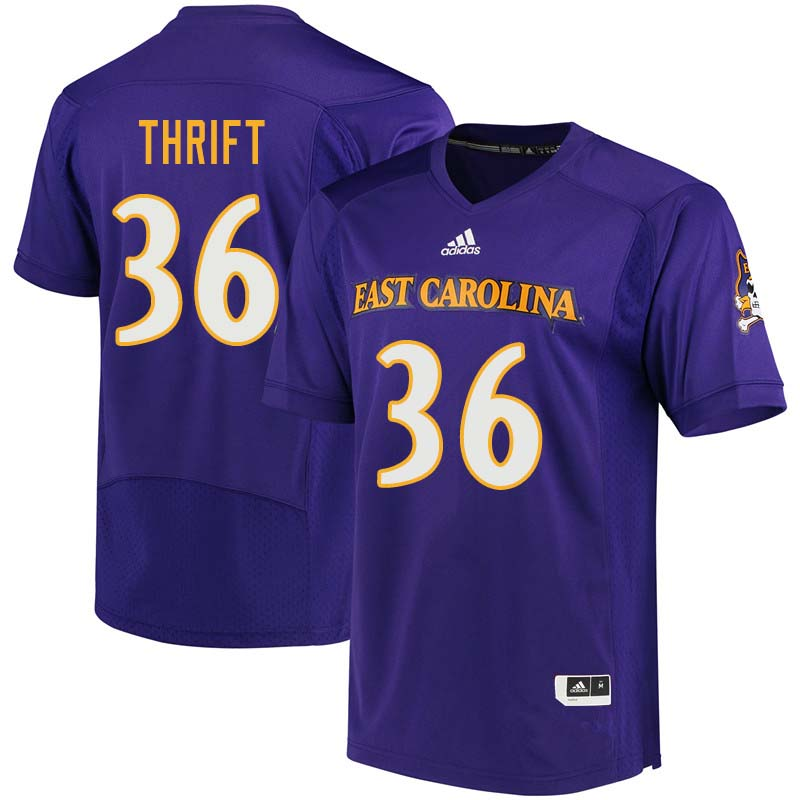Men #36 Roger Thrift East Carolina Pirates College Football Jerseys Sale-Purple