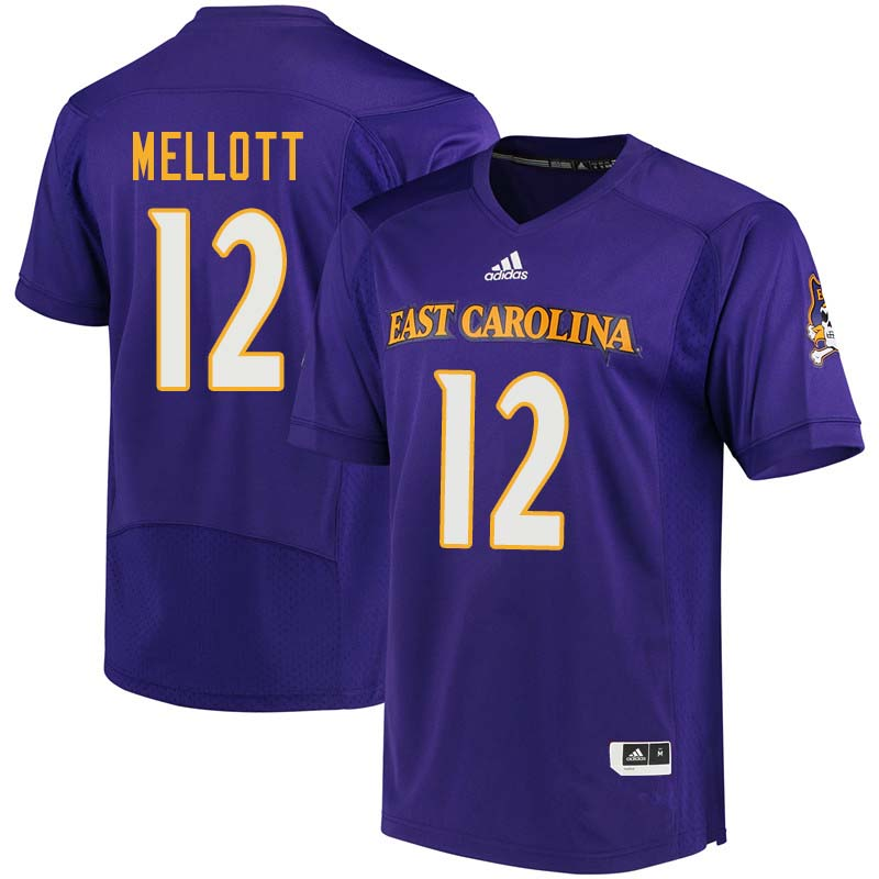 Men #12 Rowe Mellott East Carolina Pirates College Football Jerseys Sale-Purple
