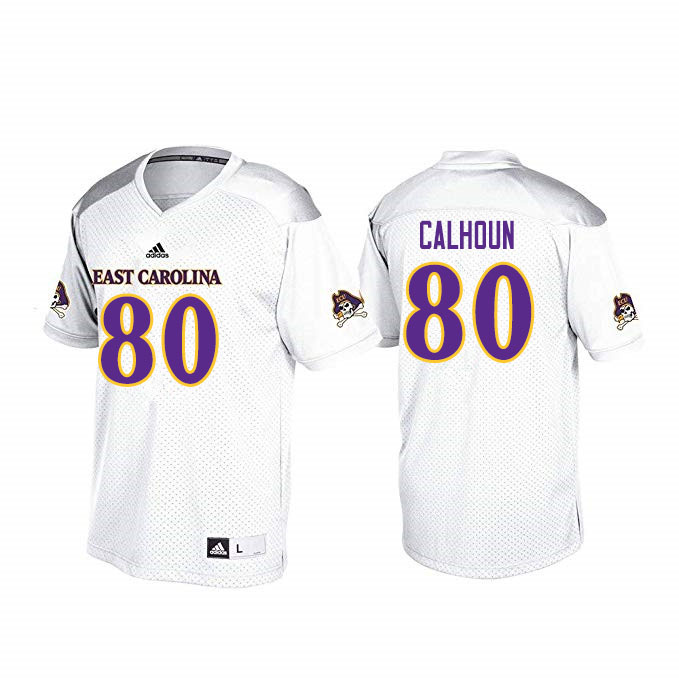 Men #80 Shane Calhoun ECU Pirates College Football Jerseys Sale-White
