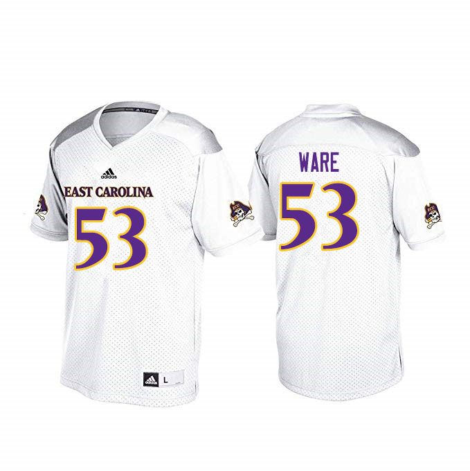 Men #53 Suirad Ware ECU Pirates College Football Jerseys Sale-White