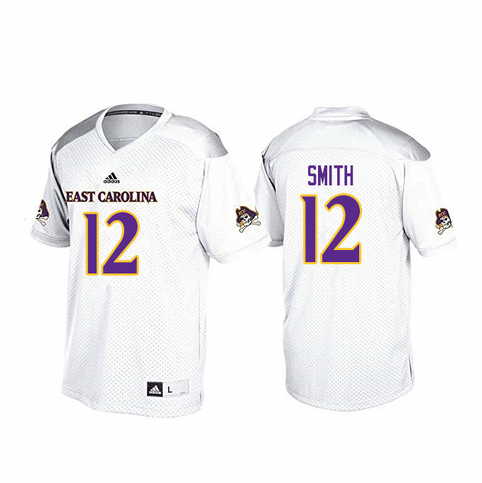 Men #12 Xavier Smith ECU Pirates College Football Jerseys Sale-White