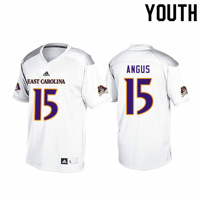 Youth #15 Alex Angus ECU Pirates College Football Jerseys Sale-White