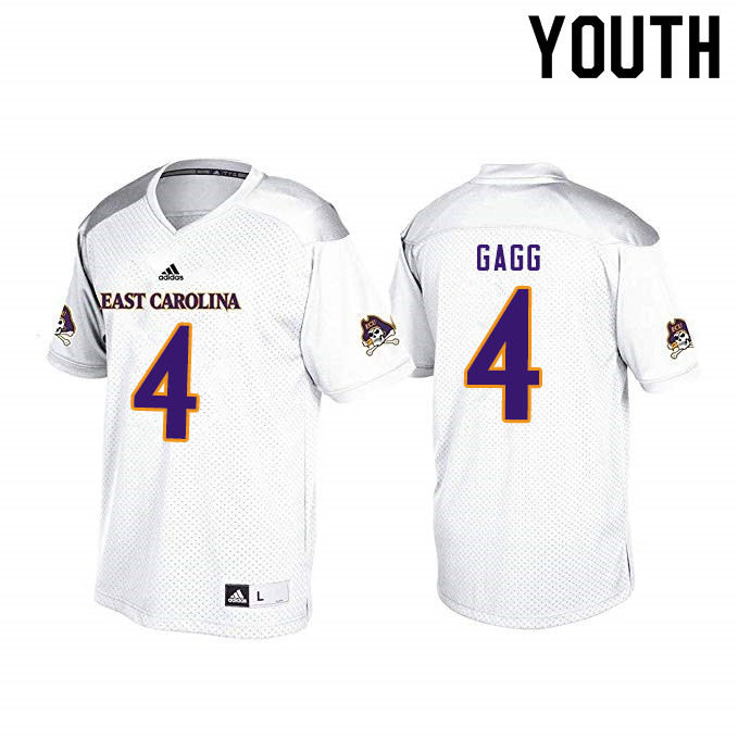 Youth #4 Bryan Gagg ECU Pirates College Football Jerseys Sale-White