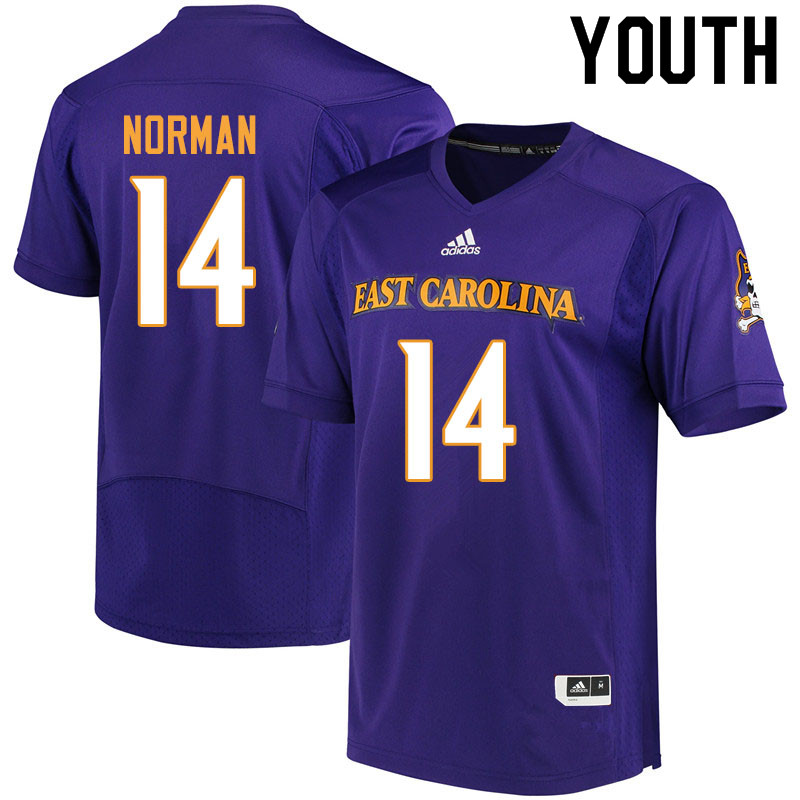 Youth #14 Caiden Norman ECU Pirates College Football Jerseys Sale-Purple