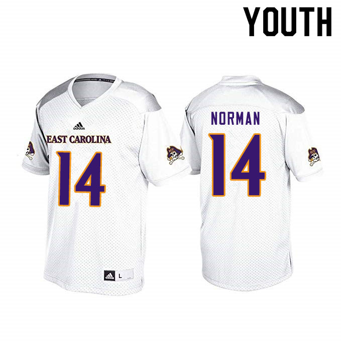 Youth #14 Caiden Norman ECU Pirates College Football Jerseys Sale-White