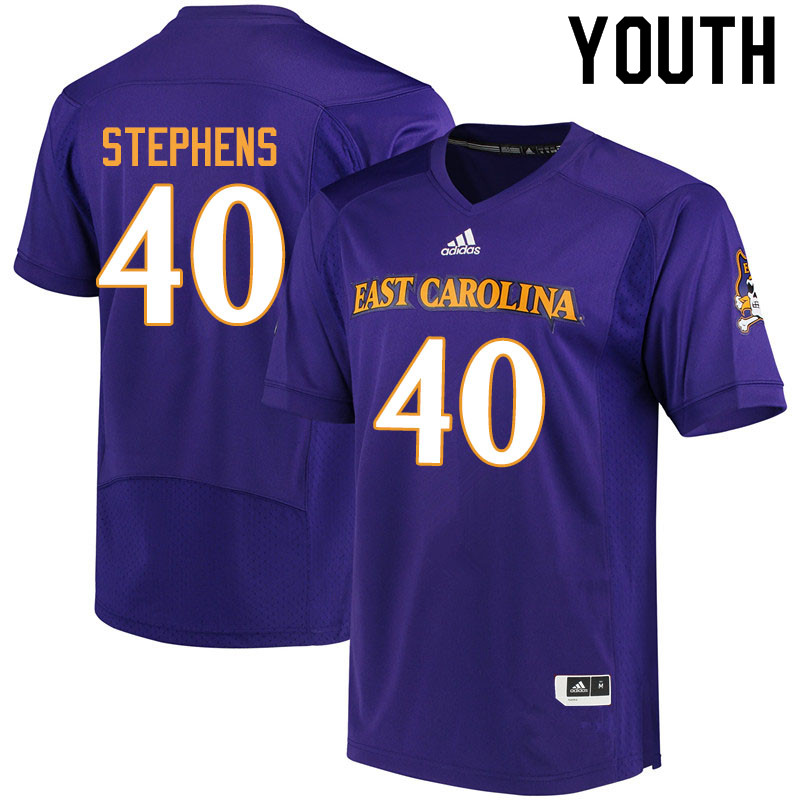 Youth #40 Chad Stephens ECU Pirates College Football Jerseys Sale-Purple