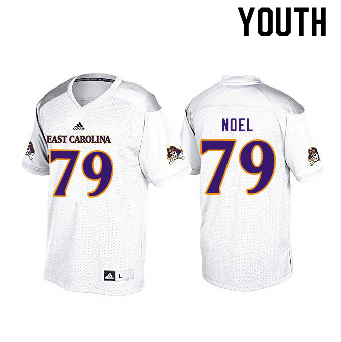 Youth #79 Donovan Noel ECU Pirates College Football Jerseys Sale-White