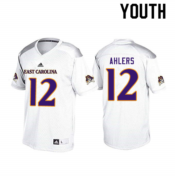 Youth #12 Holton Ahlers ECU Pirates College Football Jerseys Sale-White