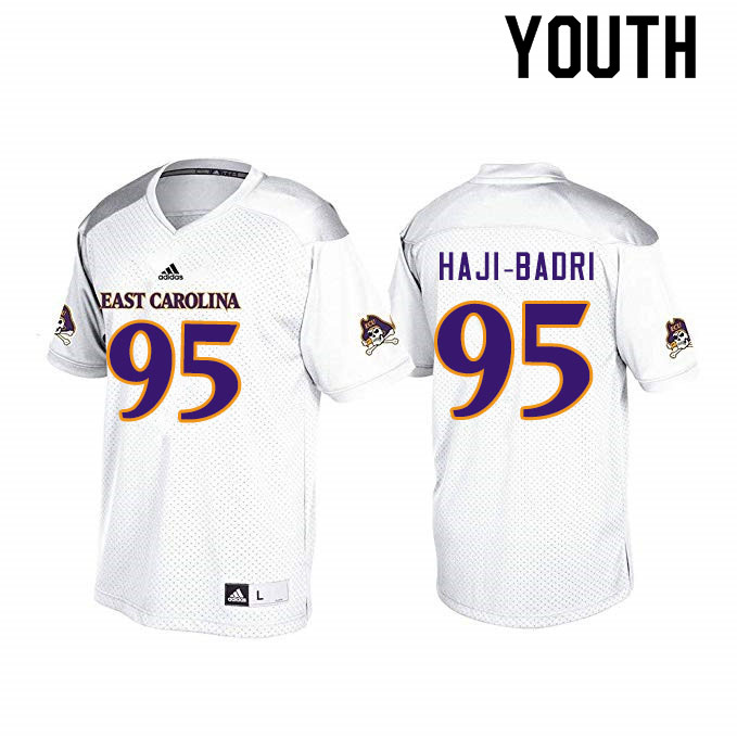 Youth #95 Hozey Haji-Badri ECU Pirates College Football Jerseys Sale-White