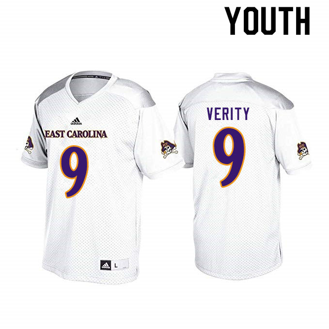 Youth #9 Jake Verity ECU Pirates College Football Jerseys Sale-White