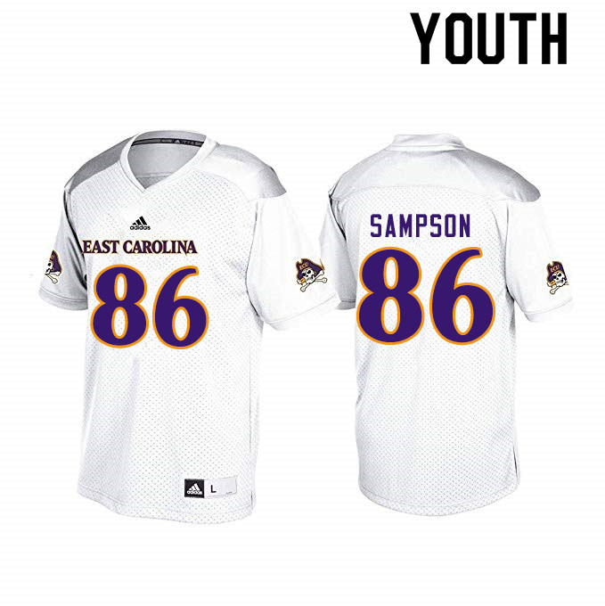 Youth #86 Jaray Sampson ECU Pirates College Football Jerseys Sale-White