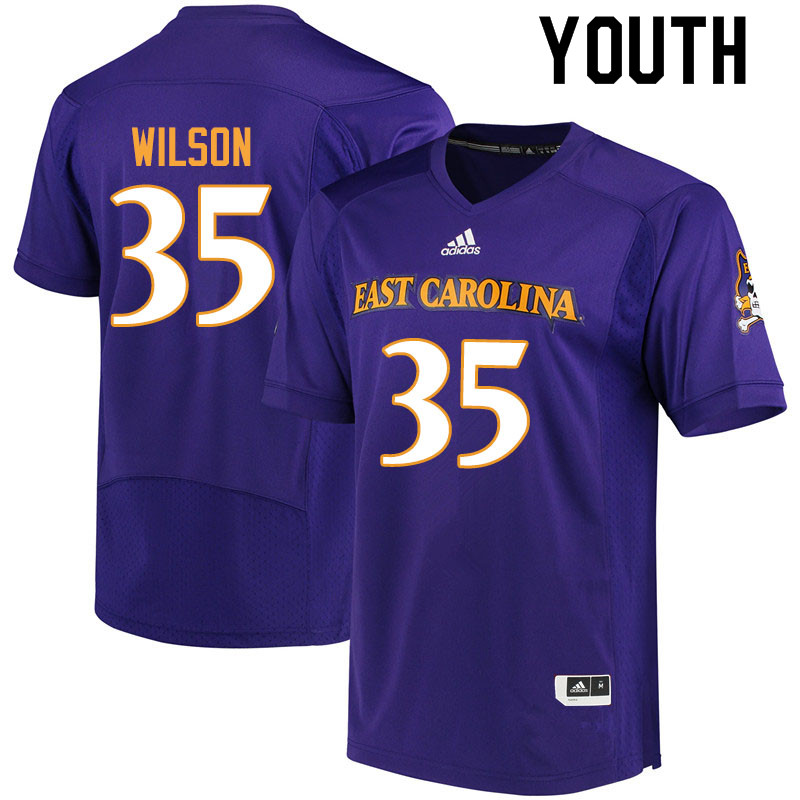 Youth #35 Jireh Wilson ECU Pirates College Football Jerseys Sale-Purple
