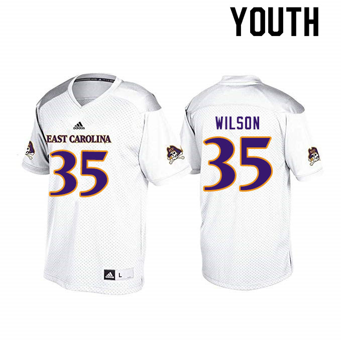 Youth #35 Jireh Wilson ECU Pirates College Football Jerseys Sale-White