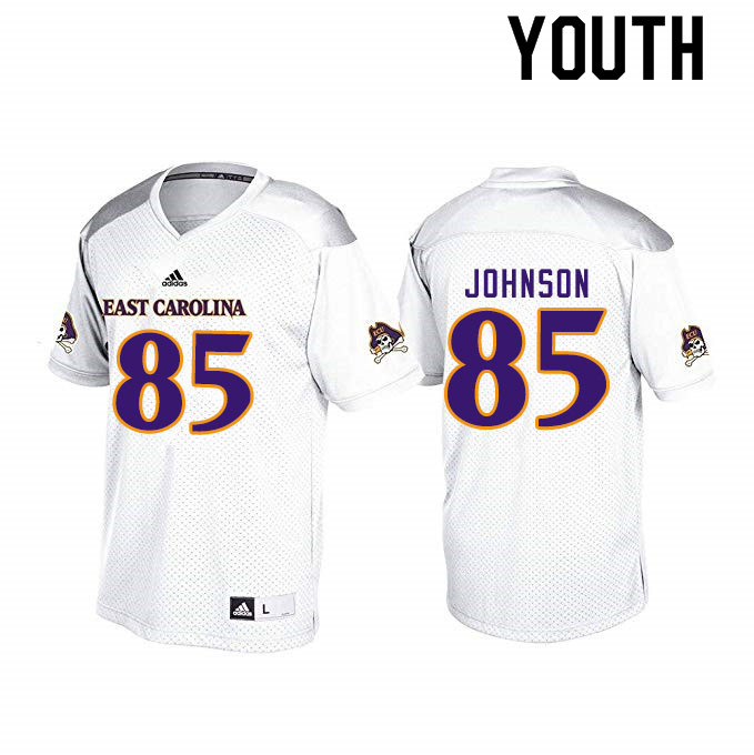 Youth #85 Jonathan Johnson ECU Pirates College Football Jerseys Sale-White