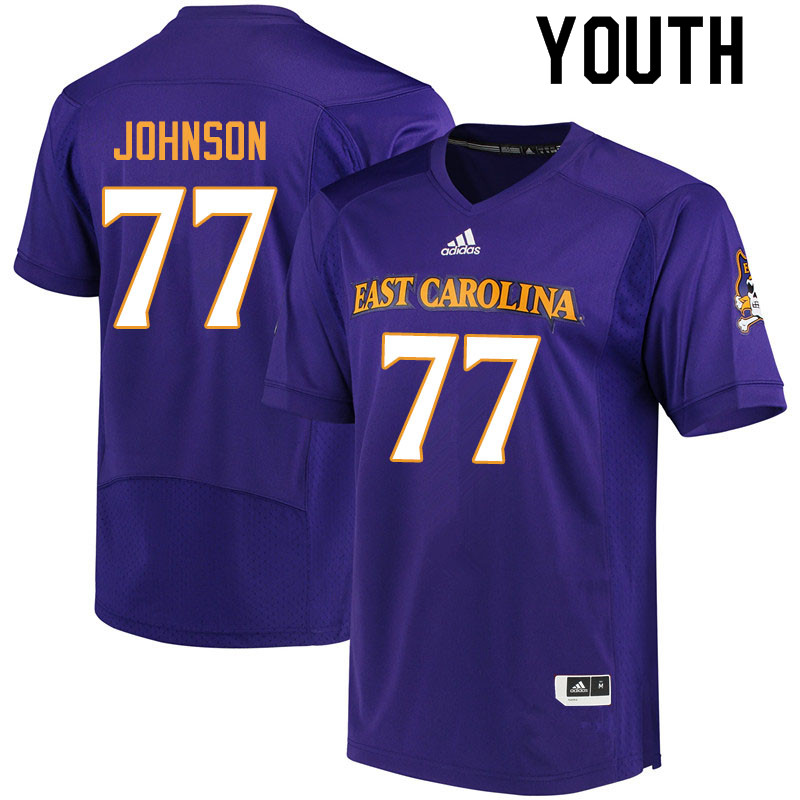 Youth #77 Jordan Johnson ECU Pirates College Football Jerseys Sale-Purple