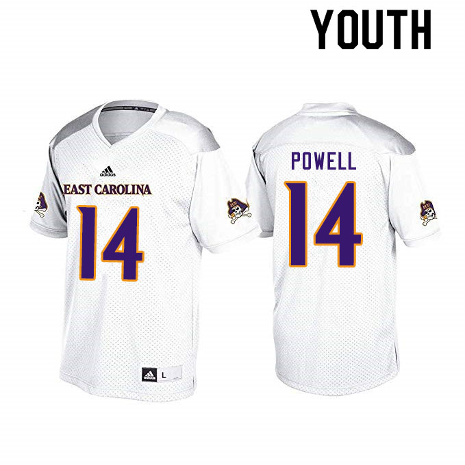 Youth #14 Juan Powell ECU Pirates College Football Jerseys Sale-White