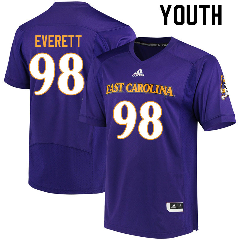 Youth #98 Keziah Everett ECU Pirates College Football Jerseys Sale-Purple