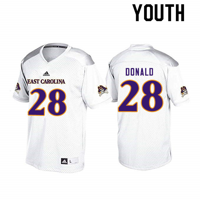 Youth #28 Maceo Donald ECU Pirates College Football Jerseys Sale-White