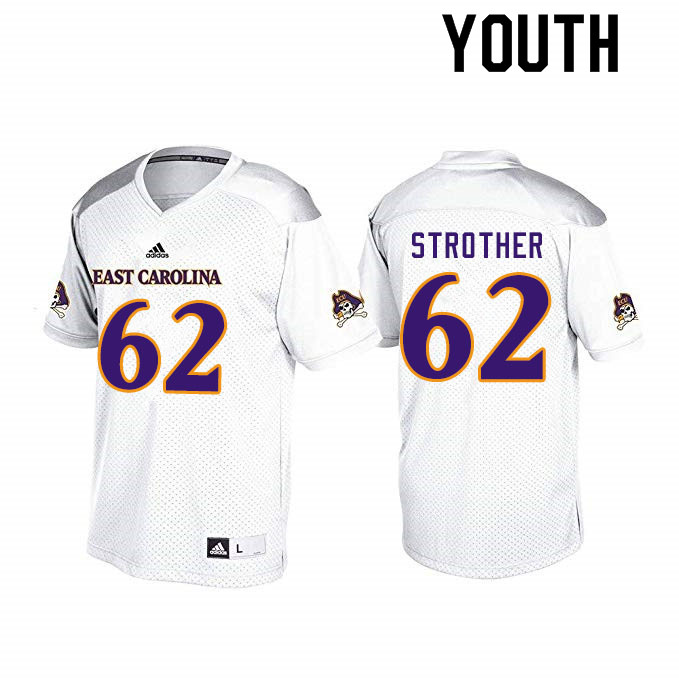 Youth #62 Nishad Strother ECU Pirates College Football Jerseys Sale-White
