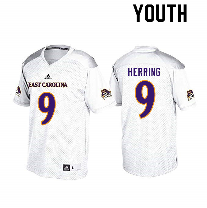Youth #9 Reid Herring ECU Pirates College Football Jerseys Sale-White