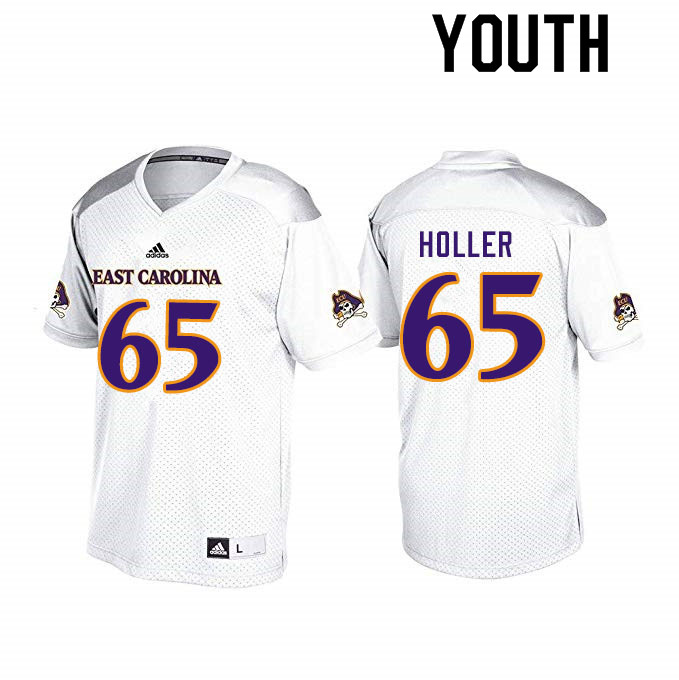 Youth #65 Trent Holler ECU Pirates College Football Jerseys Sale-White