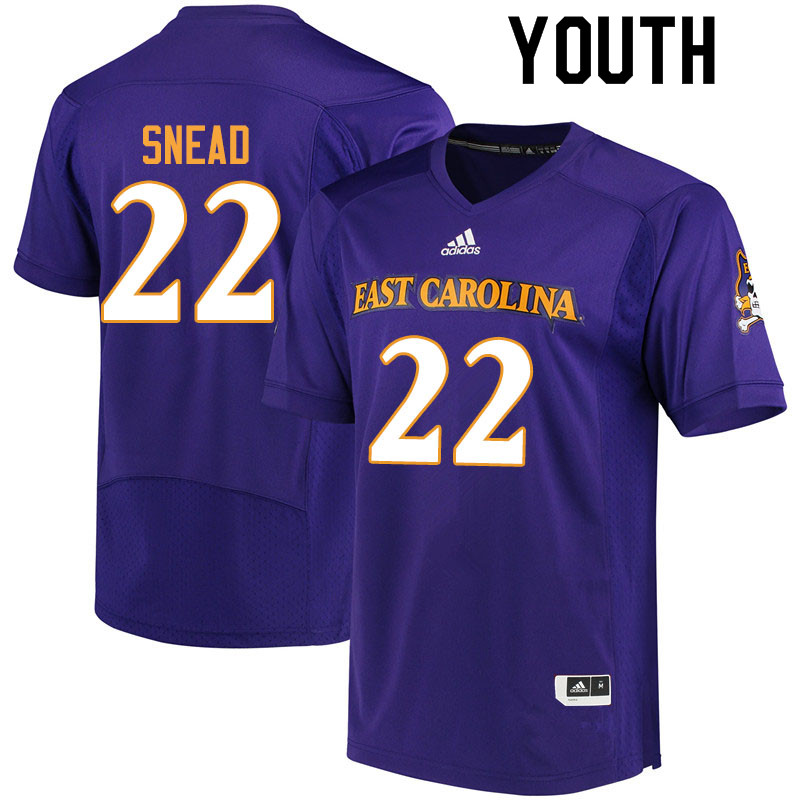 Youth #22 Tyler Snead ECU Pirates College Football Jerseys Sale-Purple