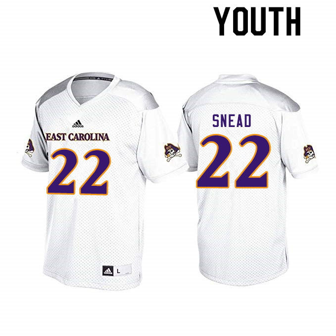 Youth #22 Tyler Snead ECU Pirates College Football Jerseys Sale-White