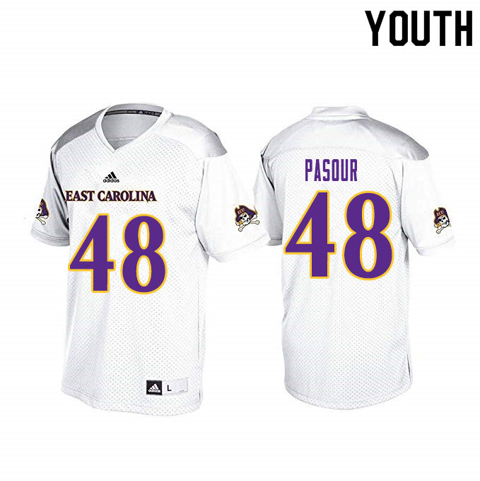 Youth #48 Aaron Pasour ECU Pirates College Football Jerseys Sale-White